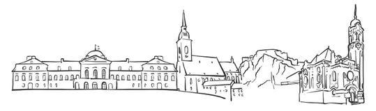 Bratislava, Eslovaquia, bosquejo del panorama stock de ilustración