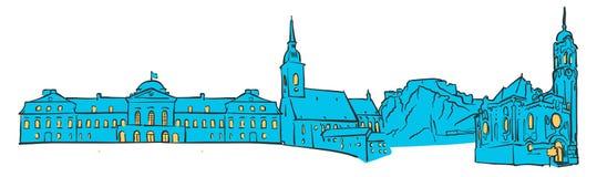 Bratislava, Eslovaquia, panorama coloreado libre illustration