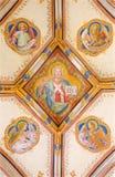 Bratislava - freskomålning av Jesus Christ och fyra evangelistsymboler. Detalj från St Ann gotiskt sidokapell Royaltyfria Bilder