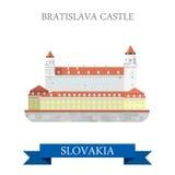 Bratislava Grad Castle Slovakia flat vector attraction sight. Bratislava Grad Castle in Slovakia. Flat cartoon style historic sight showplace attraction web site Stock Image