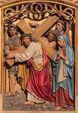 Bratislava - Jesus under cross meets his mother. Carved relief from gothic side altar in st. Martin cathedral. Stock Photos