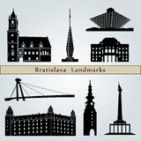 Bratislava landmarks and monuments. Isolated on blue background in editable vector file Royalty Free Stock Photography