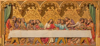 Bratislava - Last supper of Christ scene. Carved relief on gothic side altar in st. Martin cathedral. Stock Photo