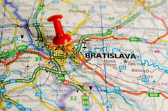 Bratislava on map. Close up shot of Bratislava Slovakia on a map with red push pin stock image