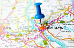 Bratislava on map. With push pin. Preßburg or Pressburg, Pozsony royalty free stock image