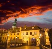 Bratislava - The Michaels bridge and tower in dusk. Stock Photo