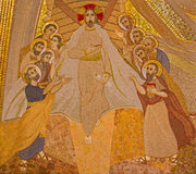 Bratislava - mosaic of resurrected Christ among the apostles in the Saint Sebastian cathedral by jesuit Mar­ko Ivan Rupnik Royalty Free Stock Photo