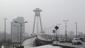 Bratislava. Most SNP bridge in bratislava royalty free stock images