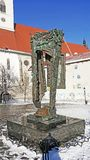 Bratislava nazi Holocaust statue inMemorial St. Martins Cathedral square. Sky in winter royalty free stock photos