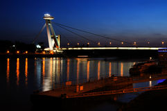 Bratislava New bridge during night Stock Photography