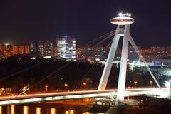 Bratislava New bridge during night. Stock Photo