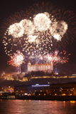 Bratislava New Year celebration. Fireworks above Bratislava castle in Slovakia Royalty Free Stock Photo
