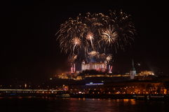 Bratislava New Year celebration. New Year celebration in the Bratislava, Slovakia Stock Images