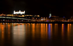 Bratislava at night. View from Petrzalka district royalty free stock photo