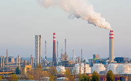 Bratislava - The oil refinery Slovnaft in Slovakia in evening light. Royalty Free Stock Photography