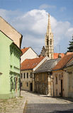 Bratislava - old aisle and gothic tower Stock Image