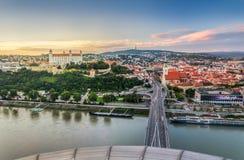 Bratislava på solnedgången, Slovakien Fotografering för Bildbyråer
