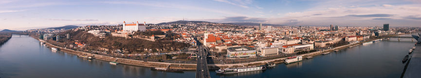 Bratislava Panorama. Image showing a 180 panorama of Slovakia's capital city, Bratislava, taken from the OZN, on the top of the Novy Most, the bridge over the Royalty Free Stock Photography