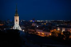 Bratislava panorama at night Royalty Free Stock Image