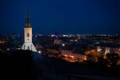 Bratislava panorama at night Royalty Free Stock Image