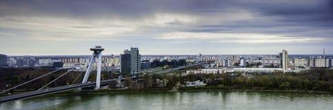 Bratislava - panoramic view. Bratislava, river Danube and UFO bridge, panoramic view Royalty Free Stock Photos