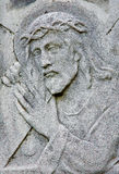Bratislava - Relief of Jesus Christ with the cross from 19. cent. on the tomb in cemetery Na Kozej brane Stock Photo