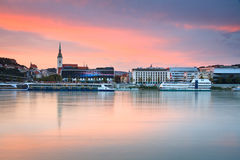 Bratislava and river Danube. View of the Bratislava over the river Danube, Slovakia royalty free stock image