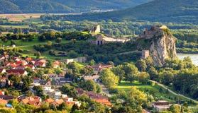 Bratislava - Ruïne van kasteel Devin, Slowakije Royalty-vrije Stock Foto