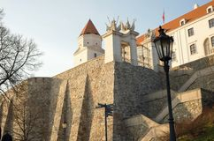 Bratislava´s castle with wall and gateway, Slovakia Royalty Free Stock Image