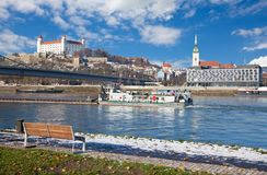 Bratislava - Scenery of the City with the promenade of Danube after first snow Stock Photo