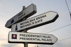 Bratislava signs. Direction signs to Bratislava landmarks, dusk photo Royalty Free Stock Photography