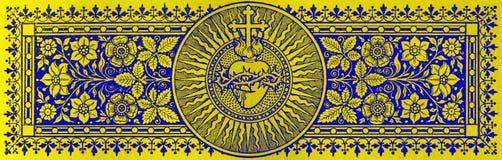 BRATISLAVA, SISTANI, LISTOPAD - 21, 2016: Kamieniodruk serce Jezus w Missale Romanum Zdjęcie Stock