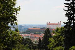 Bratislava skyline with castle and bridge Stock Photos