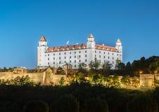 Bratislava slott i huvudstad av den slovakiska republiken Arkivbild