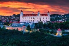 Bratislava, Slovakia. The castle in Bratislava (Slovakia) at sunset Royalty Free Stock Photography