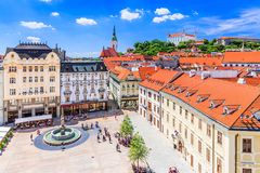 Bratislava, Slovakia. View of the Bratislava castle, main square and the St. Martin`s Cathedral Stock Image