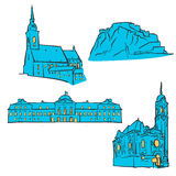Bratislava, Slovakia, Colored Landmarks. Scalable Vector Monuments. Filled with Blue Shape and Yellow Highlights Stock Image