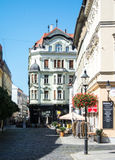 BRATISLAVA, SLOVAKIA - JULY 30, 2016: A beautiful decorated house at the center of old town of Bratislava. Slovakia Royalty Free Stock Photography
