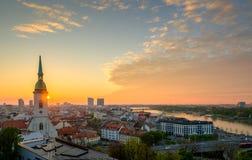 Bratislava, Slovakia landscape at morning sunrise Royalty Free Stock Photography