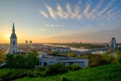 Bratislava, Slovakia landscape at morning sunrise Royalty Free Stock Images