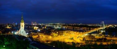 Bratislava, Slovakia landscape at night Stock Images