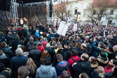 More than 60 thousand people hold an anti-government rally in Bratislava, Slovakia on March 16, 2018. BRATISLAVA, SLOVAKIA - MAR 16, 2018: actor Juraj Kemka Stock Photos