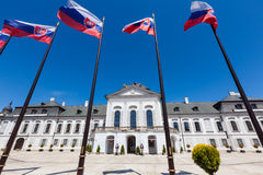 Bratislava, Slovakia. MAY 18, 2012: Guards stand in front of the Grassalkovich Palace in Bratislava, the residence of the president of Slovakia Royalty Free Stock Photos