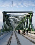 BRATISLAVA, SLOVAKIA - MAY 20, 2016: View from Bratislava's new Old Bridge (Stary Most). Openning stock photography