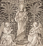 BRATISLAVA, SLOVAKIA, NOVEMBER - 21, 2016: The lithography of The St. Joseph by unknown artist F.M.S 1889 Stock Images