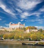 BRATISLAVA, SLOVAKIA, OCTOBER - 27, 2016: The caste from SNP bridge Stock Photography
