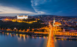 Bratislava, Slovakia. Panoramic View with the Castle and Old Town as Seen from Observation Deck the Bridge Royalty Free Stock Image