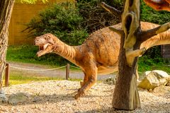 Dino Park, Slovakia. BRATISLAVA, SLOVAKIA - SEP 28, 2016: Plateosaurus at the DinoPark, one of the popular attractions in Bratislava, Slovakia Royalty Free Stock Images