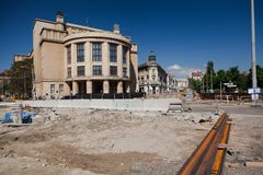 Bratislava, Slovakia, 7th. May, 2015 : Reconstruction of Stefanik`s street royalty free stock image