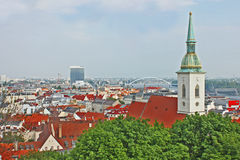 Bratislava, Slovakia, top view. From the Castle Hill stock photography